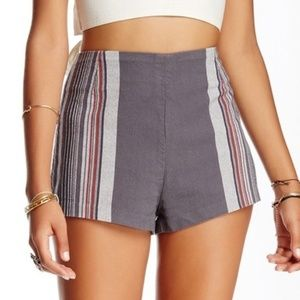 Free People gray striped high waisted shorts
